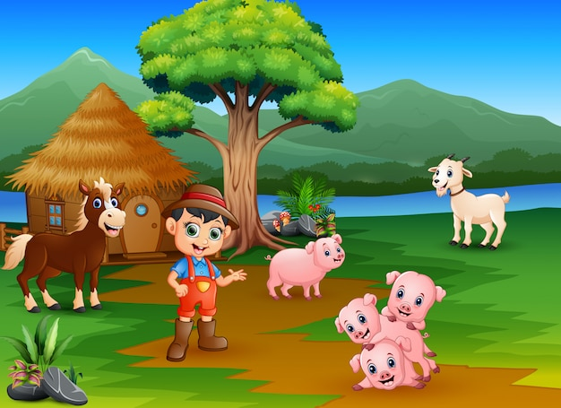 Farmers and farm animals outside the cage Premium Vector
