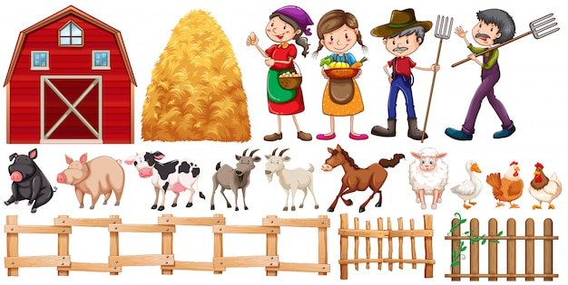 Farmers and farm animals Premium Vector