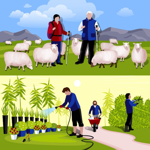 Farmers gardeners 2 horizontal flat banners set Free Vector