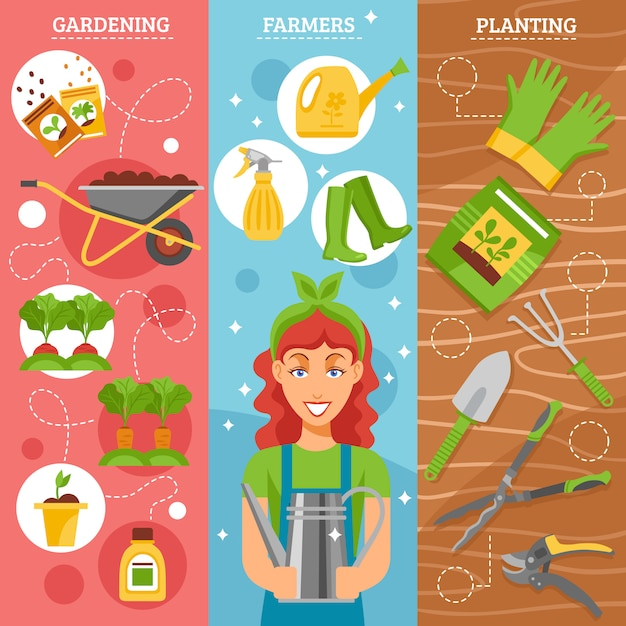 Farmers gardening flat background set Free Vector