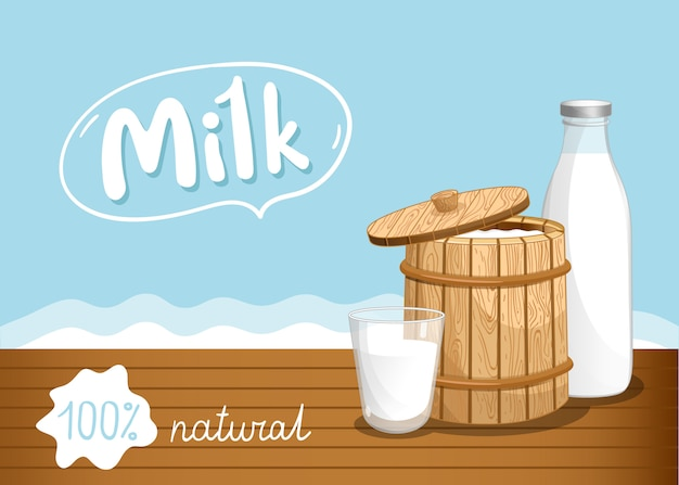Farmers market banner with dairy products Premium Vector