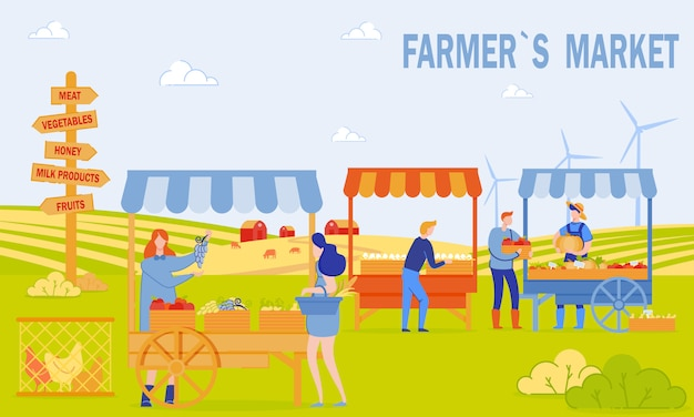 Farmers market banner Premium Vector