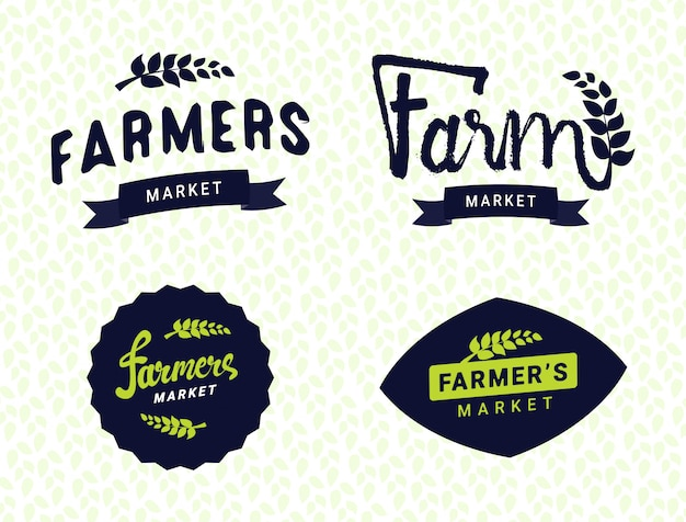 Farmers market logos templates vector objects set Premium Vector