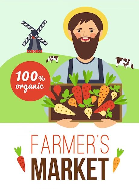 Фермерский рынок органические продукты плоский плакат Бесплатные векторы