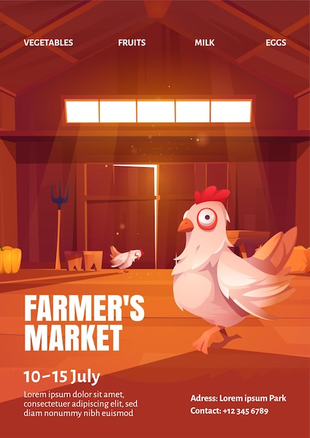 Manifesto del mercato degli agricoltori con l'illustrazione della gallina nel granaio di legno Vettore gratuito
