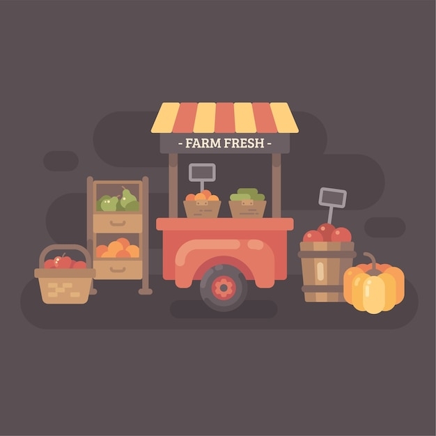 Farmers market stand with fruits and vegetables. autumn sale flat illustration Premium Vector