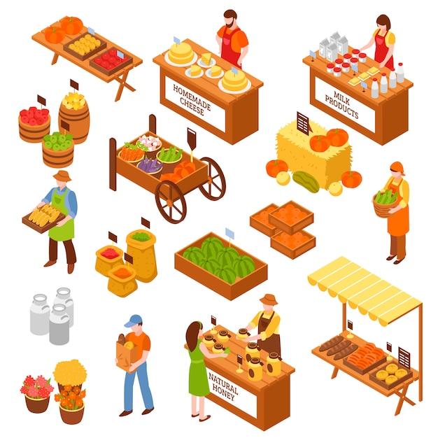 Farmers marketplace изометрические набор Бесплатные векторы