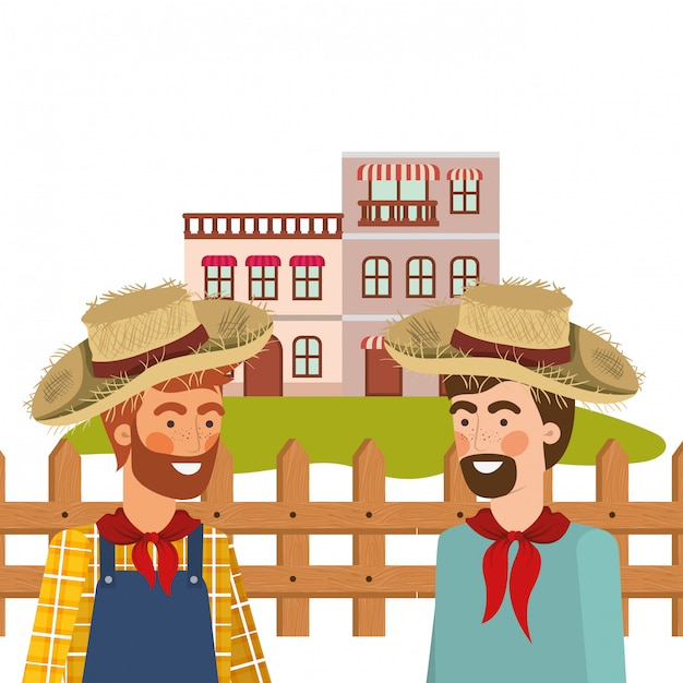 Farmers men talking with straw hat Free Vector