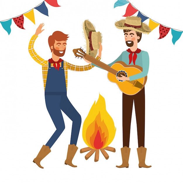 Farmers men with musical instrument Free Vector