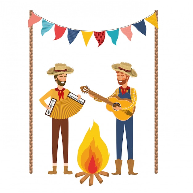 Farmers men with musical instruments Free Vector