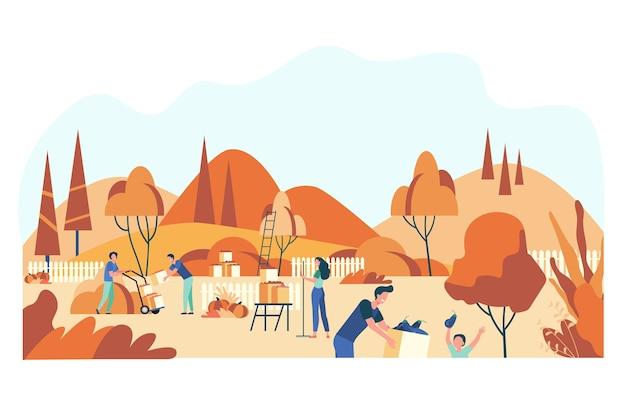 Agricoltori che raccolgono raccolto nell'illustrazione piana isolata giardino. Vettore gratuito