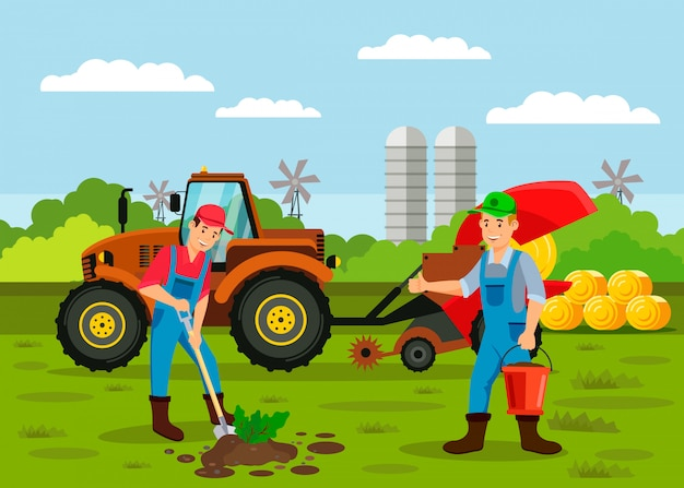 Farmers planting sprout seed vector illustration Premium Vector