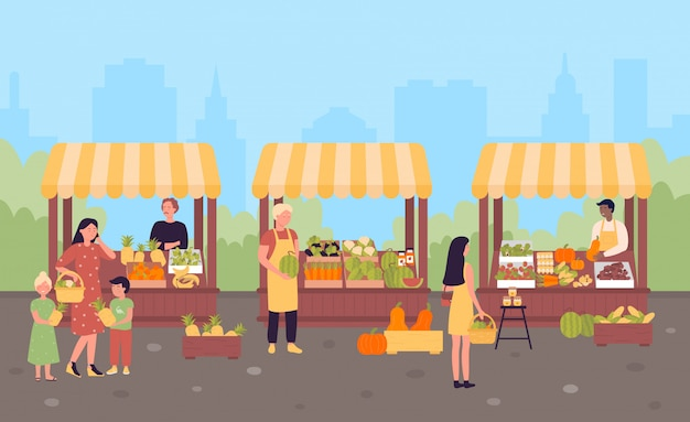Farmers street market in city flat illustration concept, town background Premium Vector