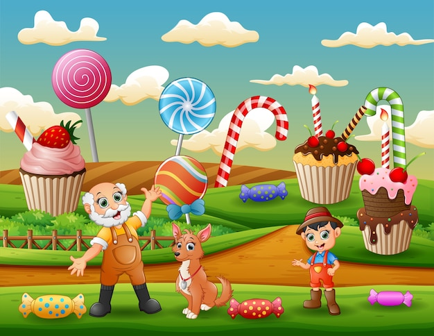 The farmers in the sweet land background Premium Vector
