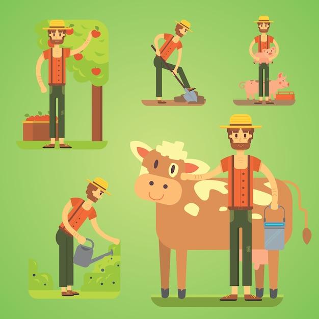 農具を使用している農民。農家のイラストを設定します Premiumベクター