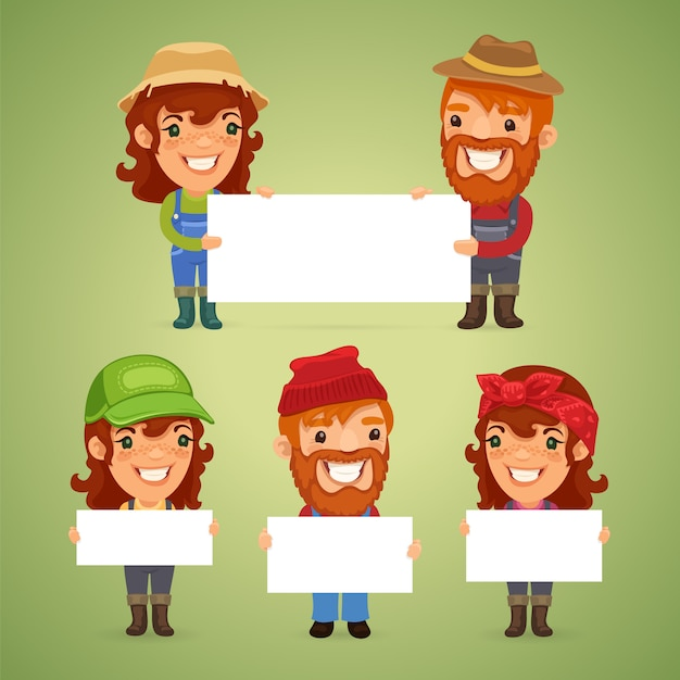 Farmers with blank placards Premium Vector