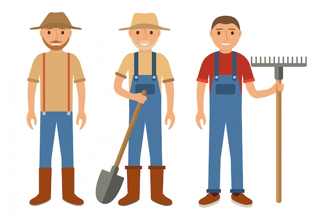 Farmers with a rake and a shovel. Premium Vector