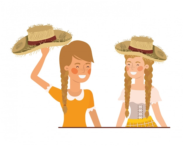 Farmers women talking with straw hat Premium Vector