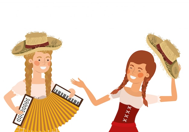 Farmers women with musical instruments Premium Vector