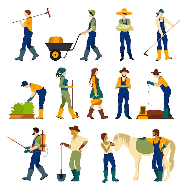 Farmers at work flat character set Free Vector