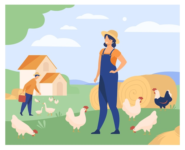 Free Vector Farmers Working On Chicken Farm Isolated Flat Vector Illustration Cartoon Woman And Man Breeding Poultry Agriculture And Domestic Birds