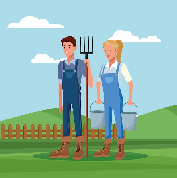 Farmers working in farm cartoons Free Vector