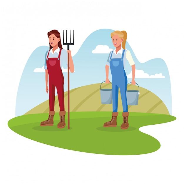 Farmers working in farm cartoons Free Vector