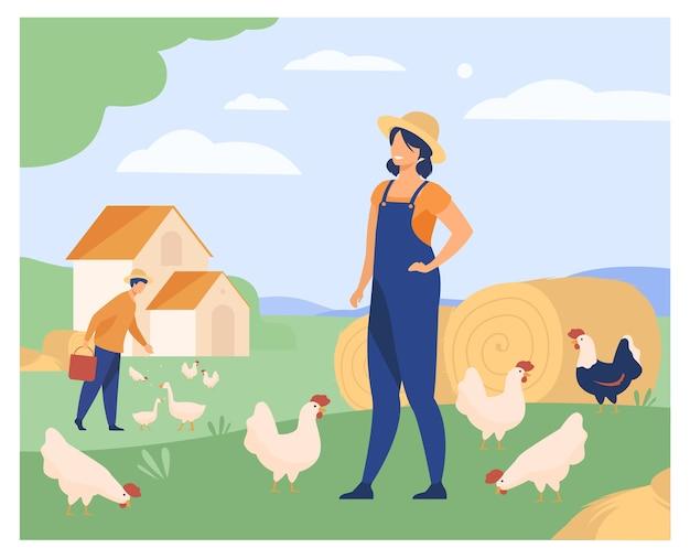 닭 농장에서 일하는 농부 격리 된 평면 벡터 일러스트 레이 션. 만화 여자와 남자 사육 가금류. 농업 및 가축 무료 벡터