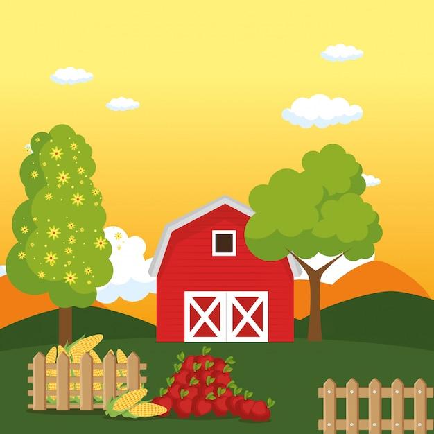 Дом на ферме Бесплатные векторы