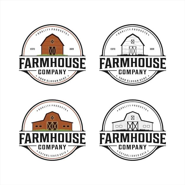 Farmhouse vintage logo Premium Vector