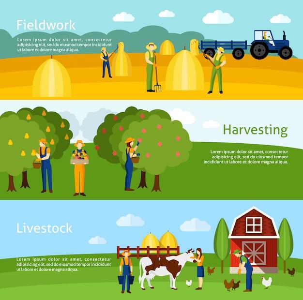 Farming 3 flat horizontal banners set Free Vector