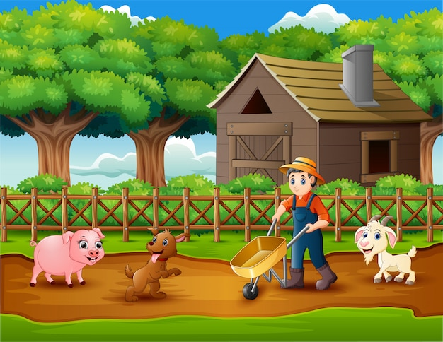 Farming activities on farms with animals Premium Vector