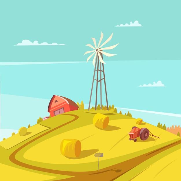 Fondo di agricoltura e di agricoltura con la casa del trattore del mulino a vento e l'illustrazione di vettore del mucchio di fieno Vettore gratuito