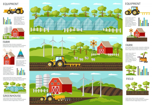 Farming and agriculture infographic banners Free Vector