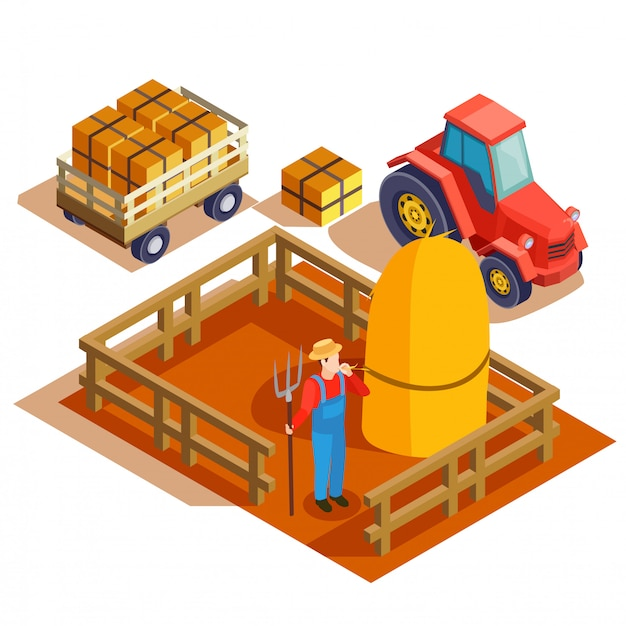 Farming agrimotor isometric composition Free Vector