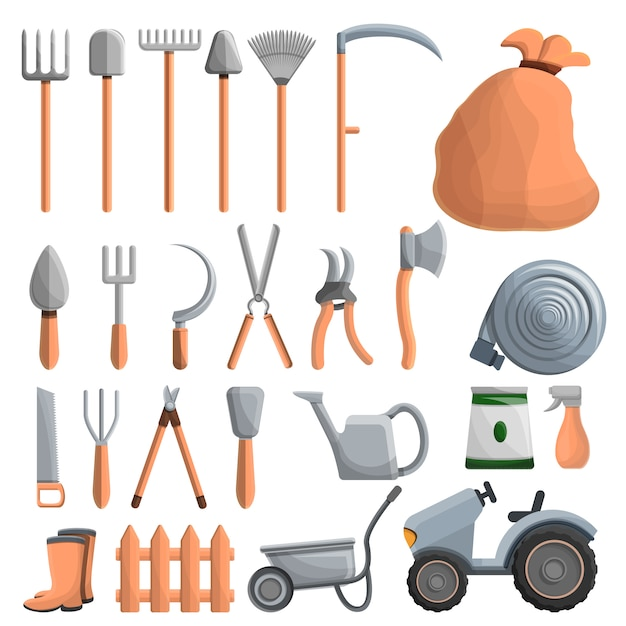 Farming equipment icon set, cartoon style Premium Vector