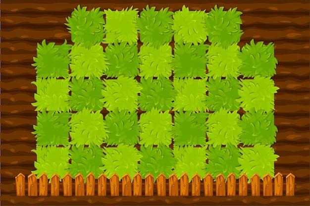 녹색 숲과 농업 게임 필드입니다. 프리미엄 벡터