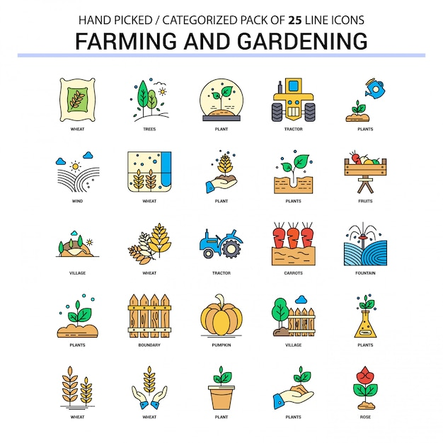 Farming and gardening flat line icon set Free Vector