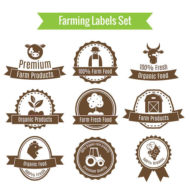 Farming harvesting and agriculture badges or labels set Free Vector