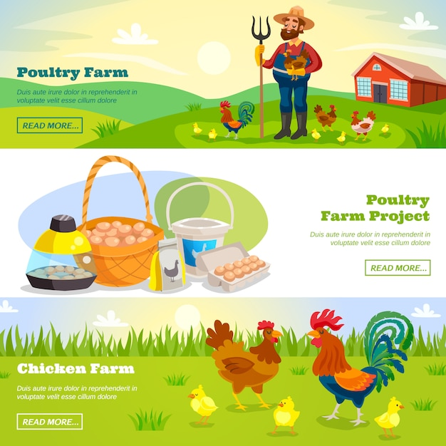 Farming horizontal banners set Free Vector