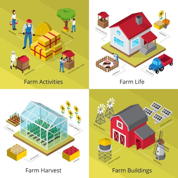 Квадрат значков концепции земледелия с парниковым оборудованием Бесплатные векторы