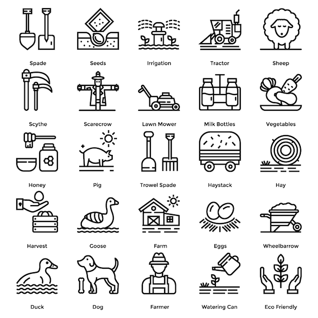 Farming line icons pack Premium Vector