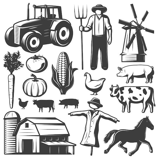 Farming monochrome elements set Free Vector
