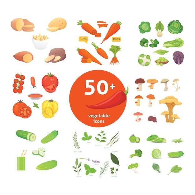 Сельскохозяйственное производство, набор иконок овощей. иллюстрация здорового питания. Premium векторы