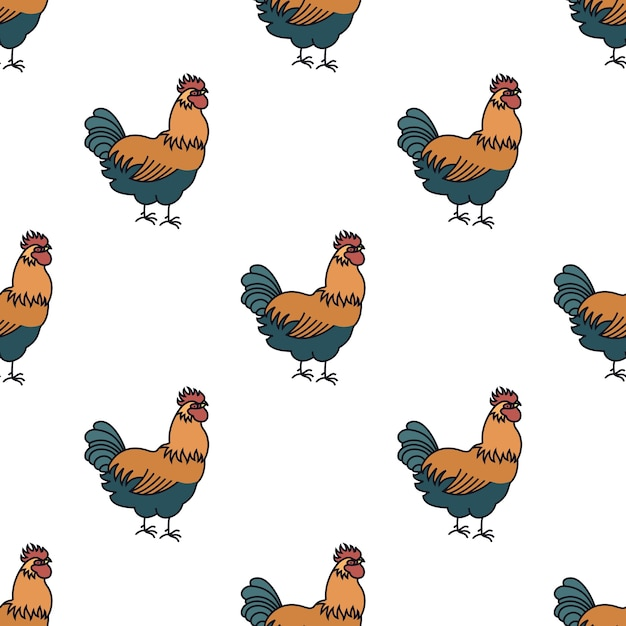 Farming seamless pattern rooster Free Vector