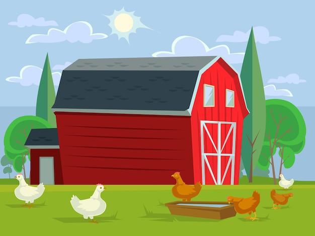 農地農業牧草地の概念。ベクトルフラットグラフィックデザインイラスト Premiumベクター