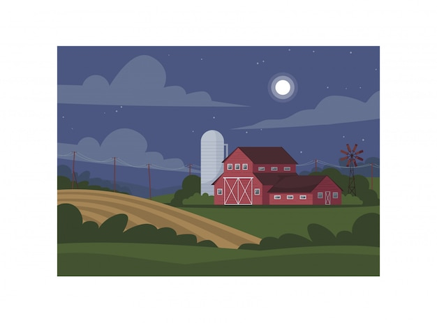 Farmland during night semi   illustration Premium Vector