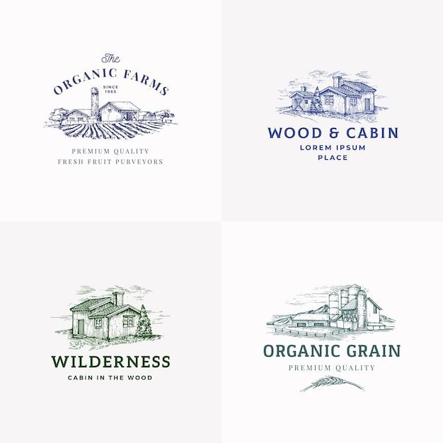 Набор абстрактных знаков, символов или логотипов ферм и хижин. Бесплатные векторы