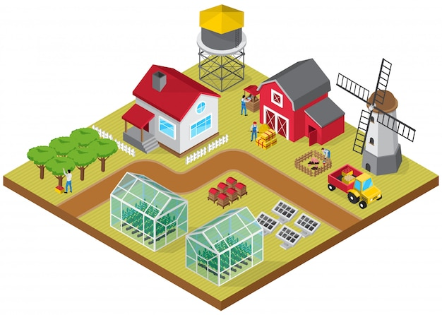 Farmyard buildings cattle raising facilities mill tractor greenhouses beehives orchard with farmworkers Free Vector