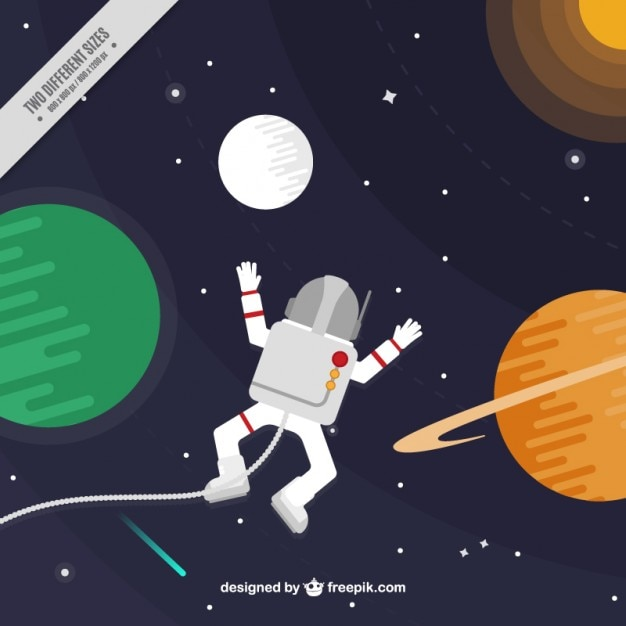 Fascinated astronaut in the space\ background